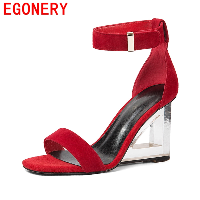 egonery sandals woman summer new style sheep suede women wedges super high heel good quality high heels sandals party shoes lady