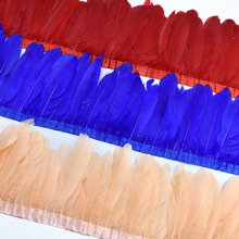 2Yards natural Goose Feather trim Fringes plumas 15-20cm Dyed feather ribbon for Crafts Sewing for DIY clothing Party decorative