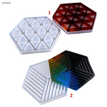 Handmade Resin Epoxy Geometry Silicone Mold DIY Insulation Hollow Striped Triangle Modeling Hexagon Coaster
