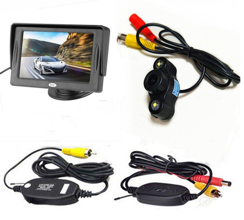 4,3 дюймовый TFT ЖК-цветной экран автомобильный монитор заднего вида парковочная помощь, камера заднего вида опционально - Цвет: With CAM wireless01