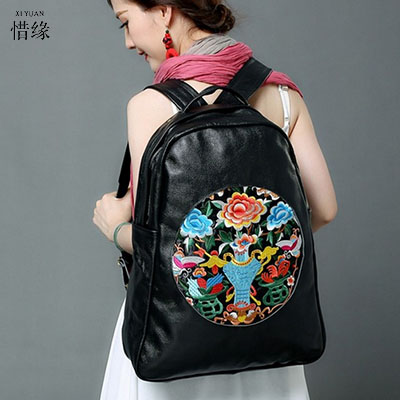 Lady New Embroidery Unique Nice School Bag Ethinic Travel Rucksack Shoulder Bags Women National Style College Students Backpack 2017 national embroidery bags women leather shoulder bag lady college crossbody bag colorful strap girls messenger bags school
