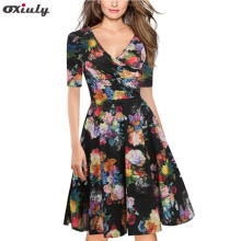 Oxiuly Black Floral Print Ruffle V Neck Dress Half Sleeve Knee Length Ladies Casual A-Line Dresses Vestidos