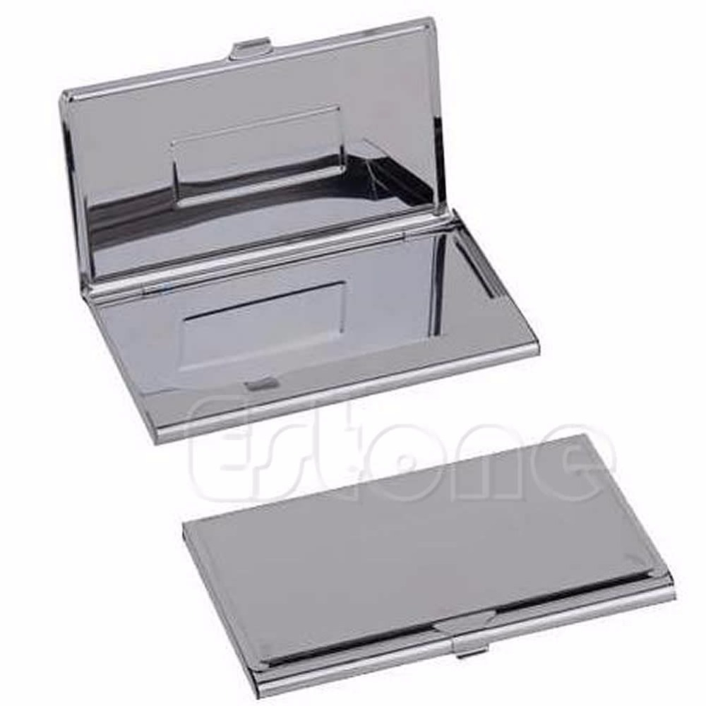 цена на Stainless Steel Business Name Credit ID Card Holder Box Metal Pocket Box Case Silver Color Trunk Shape Casual Solid Matallic