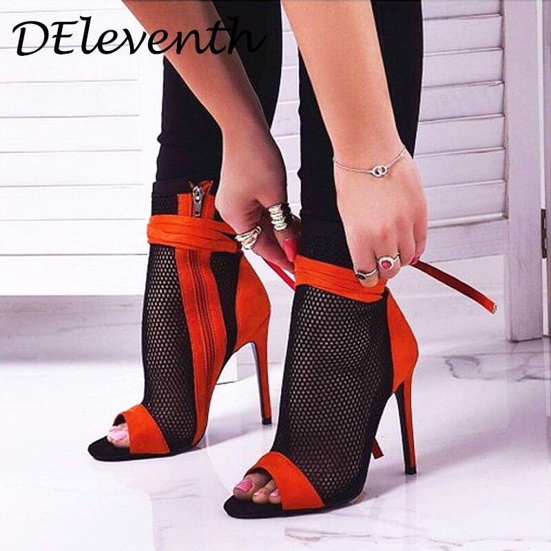 DEleventh  Nueva moda sexy mujeres Zapatos de malla corta cremallera tacones peep toe sandalias de tacon zapatos mujer negra netDEleventh  Nueva moda sexy mujeres Zapatos de malla corta cremallera tacones peep toe sandalias de tacon zapatos mujer negra net