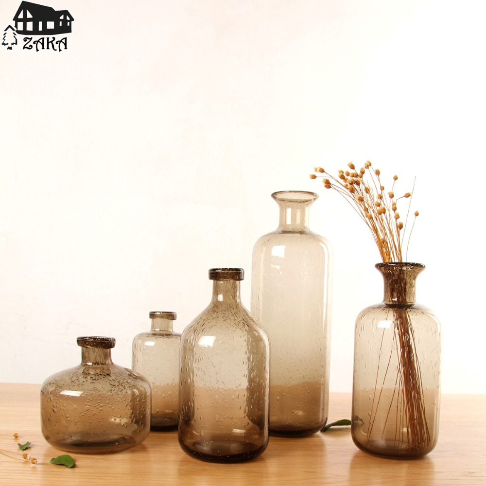 1Pcs New KEYAMANordic marine style brown bubble glass vases Hand blown flower vases bedroom table vase Simple Home Decoration