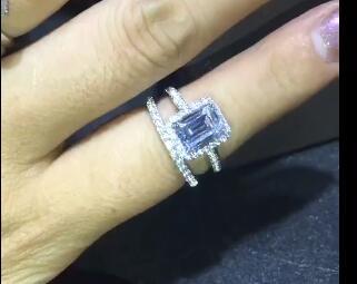 Custom item2carat mossanite Gem Wedding engagement Genuine 585 Rings