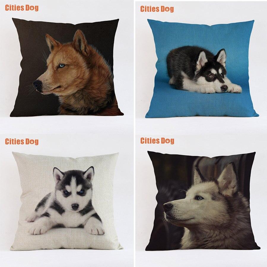 Siberian Husky dog animal cushion sofa cover pillows decorative 2018 new Year decoration gift pillowcases almofada cojines