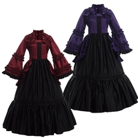 Victorian Dress Women Vintage Lolita Puff Sleeve Ball Gown Purple/Burgundy Gothic Reenactment Party Costume
