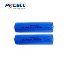 2Pcs/PKCELL 14500 Battery 3.7V ICR14500 750Mah Li-ion Rechargeable Battery Batteries Baterias Bateria For LED Flashlight