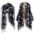Five-pointed Star Women Scarf Luxury Brand Designer Logo 2016 Double Cashmere Cachecol Foulard Long Scarf  Shawl Winter Scarves