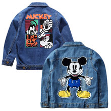 Children Mickey Denim Jackets Coat 2019 Hot Autumn Kids Fashion Printing Outerwear For Baby Boys Girls Hole Jeans Coat 3-7Years fashion children boys denim jackets coat baby boys tracksuits clothing casual turn down jeans coat autumn outwear top for boys