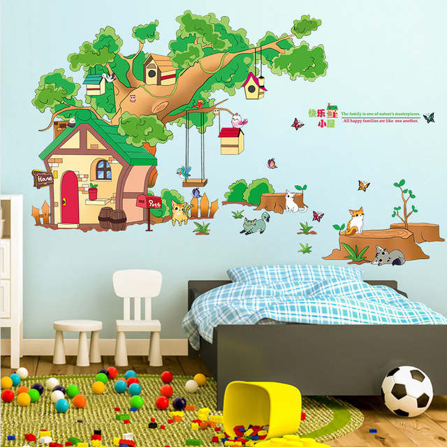 DIY Happy House Wall Stickers Big Tree Background Living Room TV Removable Home Decor Oversized