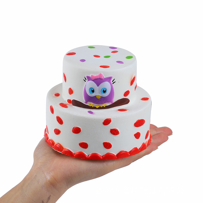Super Jumbo Double Owl Cake Squishi PU Simulation Squishy Slow Rising Scented Soft Kids Stress Relief Squeeze Toys 11.5*9 CM enlarge