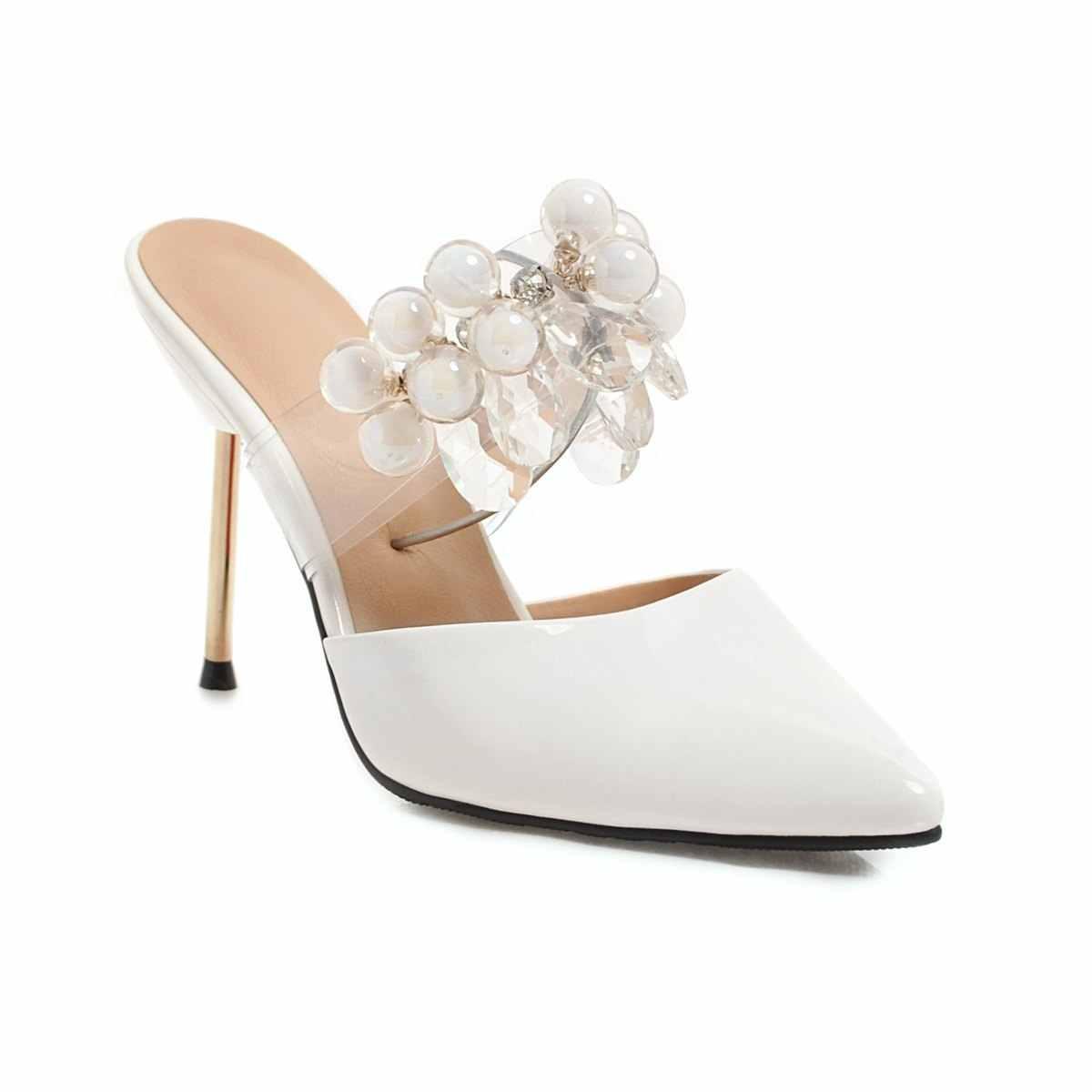 NEMAONE/2019 г.; летние женские туфли на высоком каблуке 9 см со стразами; шлёпанцы; женские шлепанцы на тонком каблуке; пикантная модная обувь телесного цвета