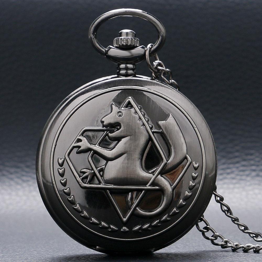 Hot Anime Cartoon Fullmetal Alchemist Pocket Watch Vintage Men Women Boys Kids Cosplay Necklace Pendant Chain Birthday Gifts