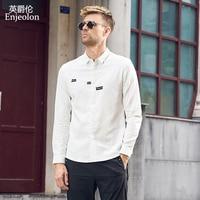 Enjeolon brand new casual Men Shirts long sleeve cotton shirt for men Base words printing Shirts Men Clothes CXCY2514 1