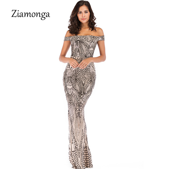 9bcad7613d0 Ziamonga Off Shoulder Black Maxi Gold Dress 2019 Floor Length Bodycon Sequin  Dress Women Strapless Formal Party Gown Sexy Dress