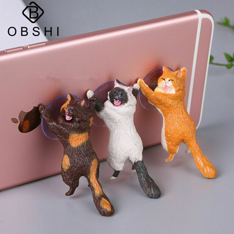 Universal Phone Holder Cute Cat Smartphone Holders Tablets Desk Car Stand Mount Cell Phone Sucker Bracket Accessories