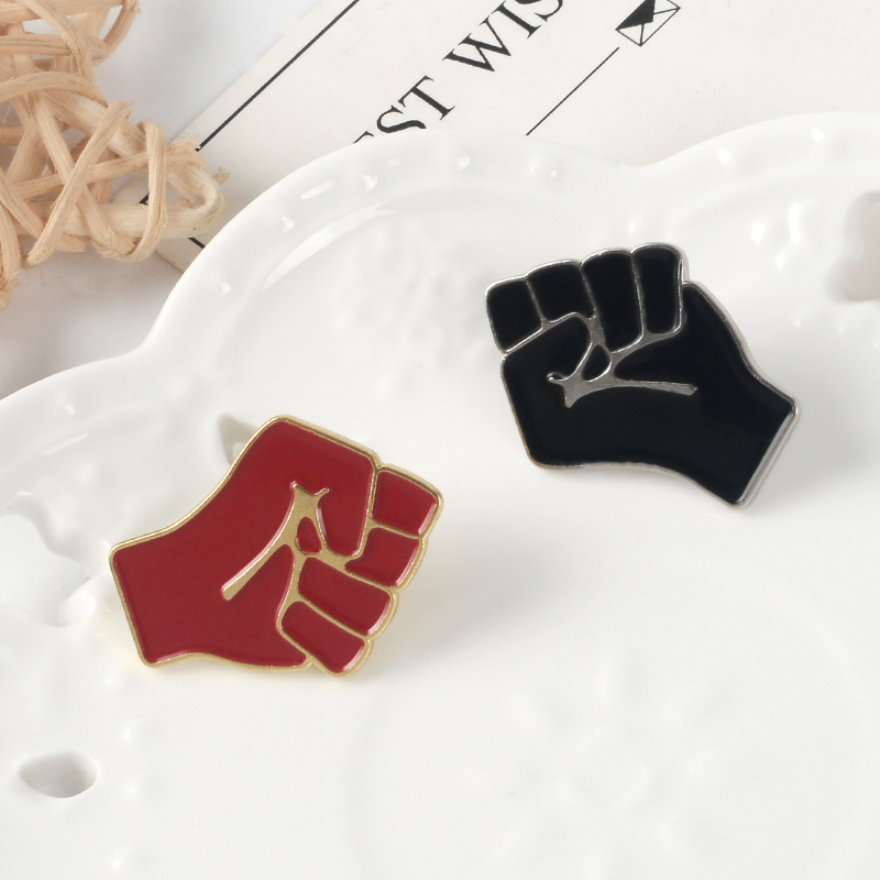 Raised Fist of Solidarity Enamel pin Red Black brooch Bag Hat Clothes Lapel Pin Badge Black Lives Matter Jewelry Gift 5