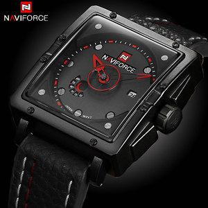 Image 1 - Naviforce Uhren Männer Marke Luxus Leder Quarz Männer Uhr Mode Lässig Militär Sport Männliche Datum Armbanduhren Luminous Uhr