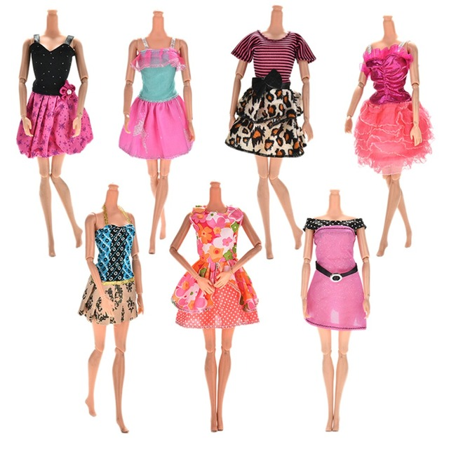 Cute 7pcs Different Style Fashion Wedding Dress for Barbies Party ...