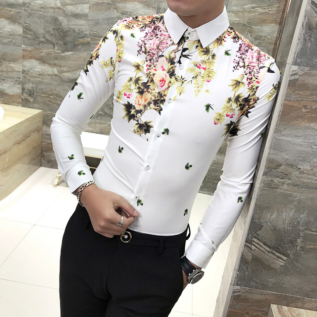 Men shirt long sleeve slim fit stylish floral