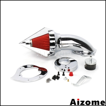Chrome Motorcycle Aluminum Washable Intake Air Filter Cone Spike Air Cleaner Kit For Honda VTX 1300 VTX1300 All Years image