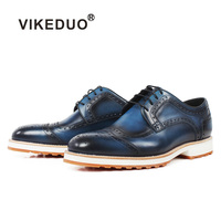 Vikeduo Classic Brogue Handmade Luxury Wedding Party Derby Shoes Business Blue Brand Male Genuine Leather Patina Men Dress Shoes