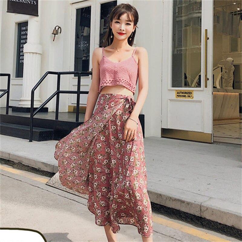 15 color Tassel floral print long skirt women beach maxi thin skirt Casual streetwear boho summer skirt female Sundress faldas