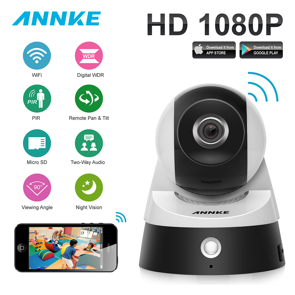 ANNKE 1080P Full HD Wireless IP Camera 2.0MP CCTV WiFi Home Surveillance Security Camera System with iOS/Android Pan Tilt Zoom wireless wifi ios android control hd pan tilt networok ip camera with phone operate work with g90b
