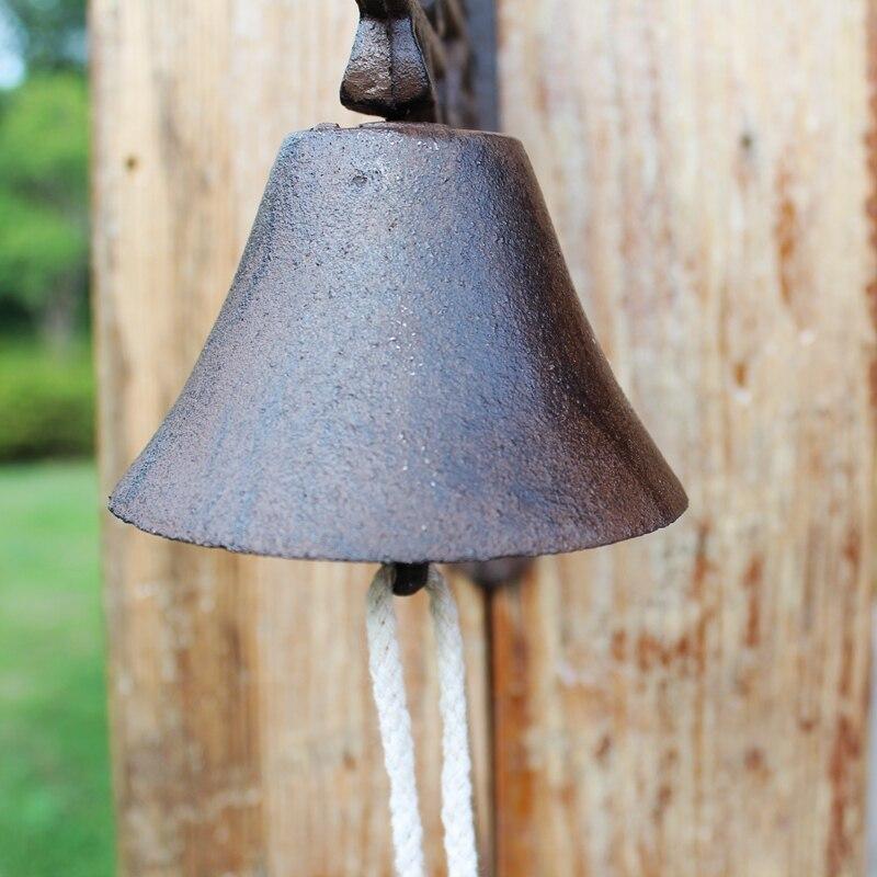 Gietijzer Welkom Dinner Bell Bloem Wall Mounted Opknoping Decoratieve Deur Bell Outdoor Tuin Veranda Patio Land Landelijke Decor - 5