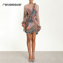 new summer women dress petal sleeve asymmetrical print vintage o neck appliques mini dresses chic perspective ruffles vestidos