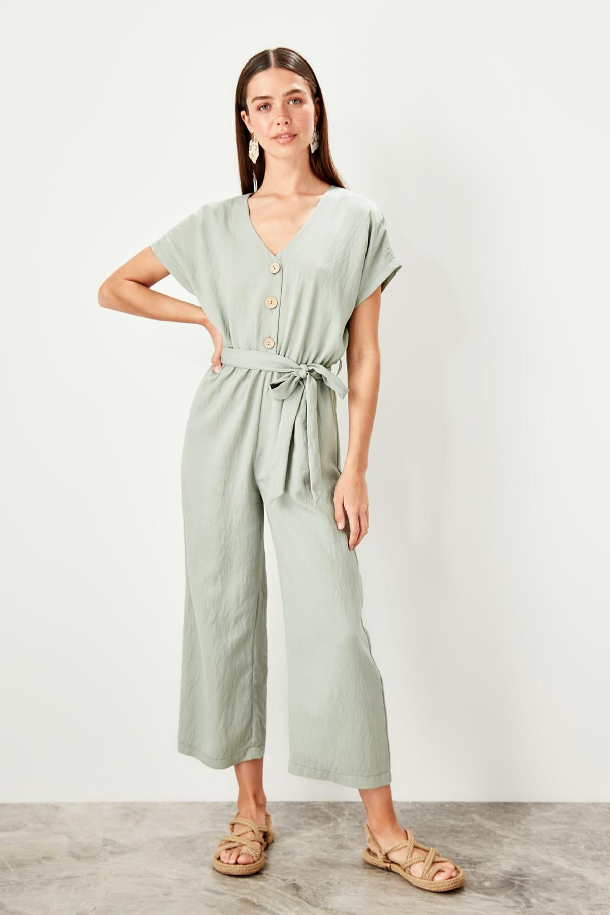 Trendyol Haki Button Jumpsuit TWOSS19TU0011