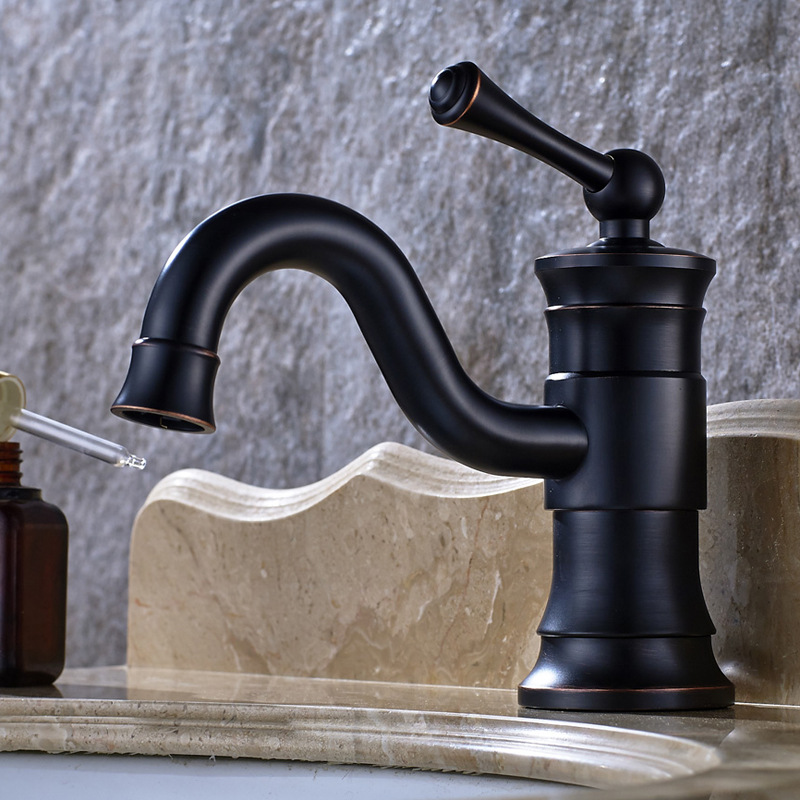 European Retro Drawing Black Washbasin Bathroom Faucet Hot And Cold Faucet Black Bronze Basin Faucet Lp-1 american black three hole retro basin faucet european style washbasin bathroom hot and cold split bathtub faucet lu41316
