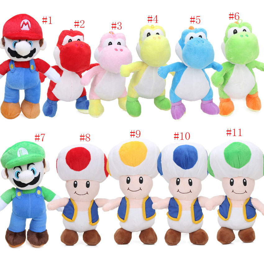 33pcs EMS 25cm Super Mario Bros Stand MARIO LUIGI Yoshi Mushroom Plush Toys Soft Stuffed Animal