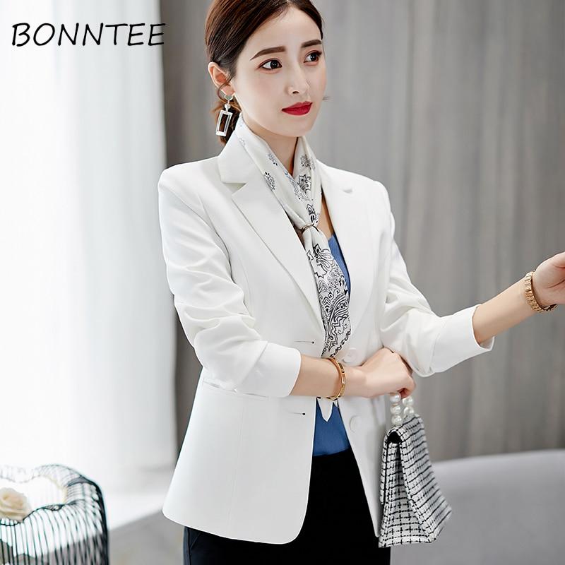 Women Blazers Slim Office Ladies Elegant Single Breasted Solid Chic Blazer New Fashion Korean Casual Womens Coat Simple Soft