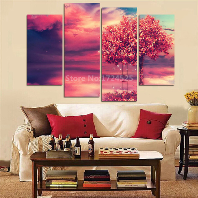 4 Pieces Hot Sell Scenery Modern Home Decor Canvas Summer Style ...