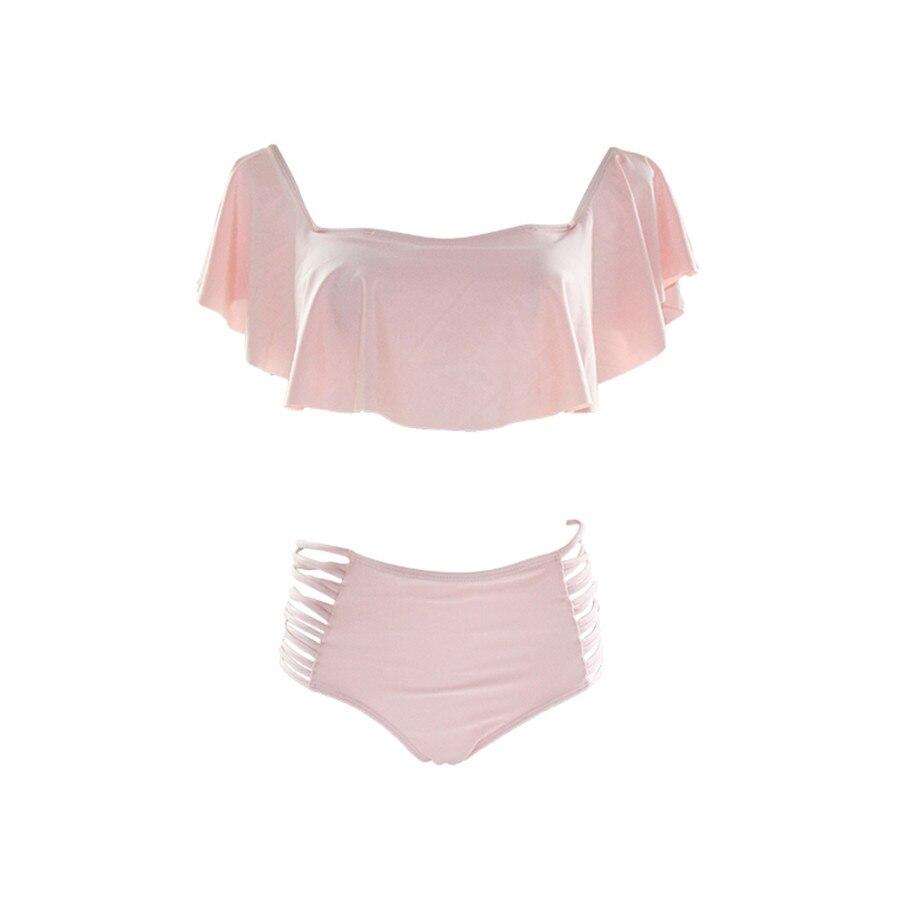 2017 Sexy Swimwear Off Shoulder Bikini Set Women Push Up Falbala Bandeau Bikini Swimsuit Solid Color High Waist Bathing Suits stripe off the shoulder high waist bandeau bikini