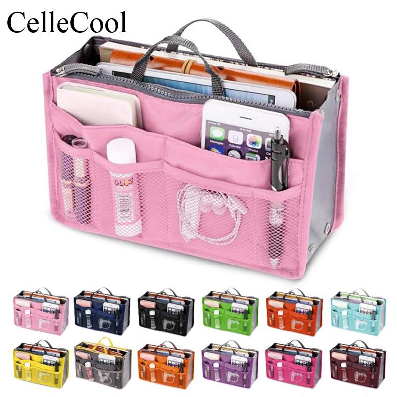 Insert Bag Women Nylon Travel Insert Organizer Handbag Purse Large Liner Lady Makeup Cosmetic Bag Travel Bag Cheap Female Tote
