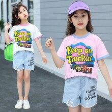 girls clothes Girls Set 2019 New Summer Fashion Casual Print Short Sleeve T-Shirt Loose Denim Shorts children