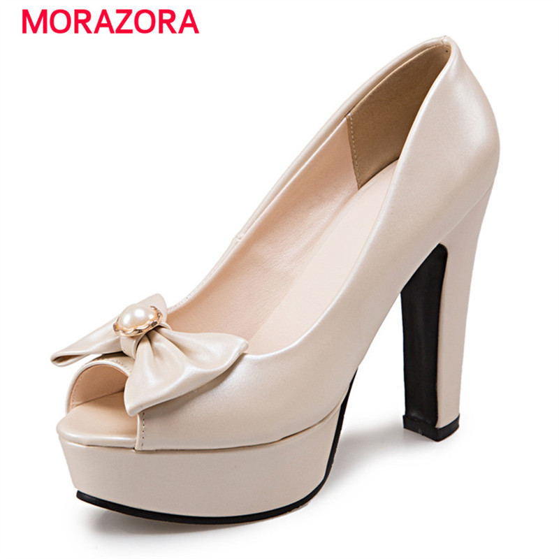 MORAZORA Large size 34-48 2018 Summer high heels shoes peep toe sweet wedding shoes shallow women pumps big size platform shoes morazora pu patent leather women shoes pumps fashion contracted high heels shoes shallow big size 34 42 platform shoes party