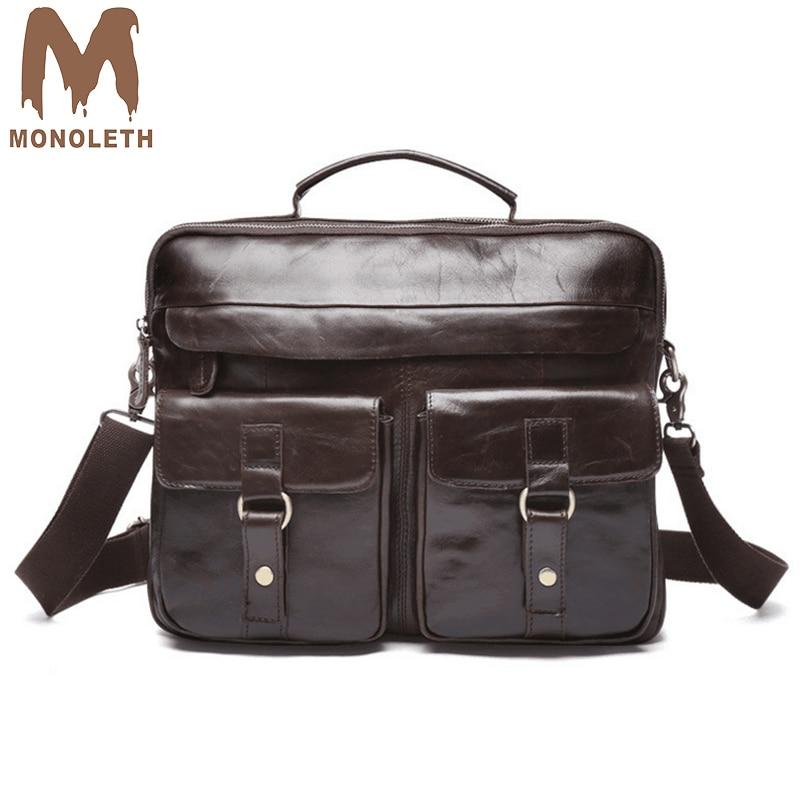 MONOLETH Vintage Genuine Leather Briefcase Men Big Cowhide Business Laptop work Tote casual multifunctional Messenger Bag W8001C