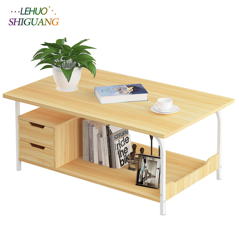 Coffee Table With drawer Wood Double layer rectangle sofa Side Table Living room Small Dining Table end Table Home Furniture