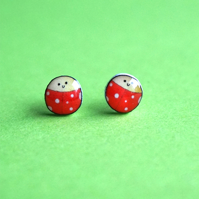 2017 Creative Charm Stud Earrings For Women Diy Cute Little Ladybug Kids Handmade Aneme