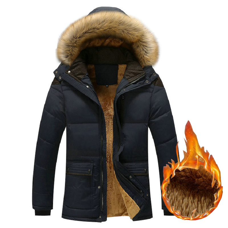 New Men Parka Warm Winter Jacket Man Fleece Thick Hooded Fur Collar Winter Coats Windbreak Outwear Male