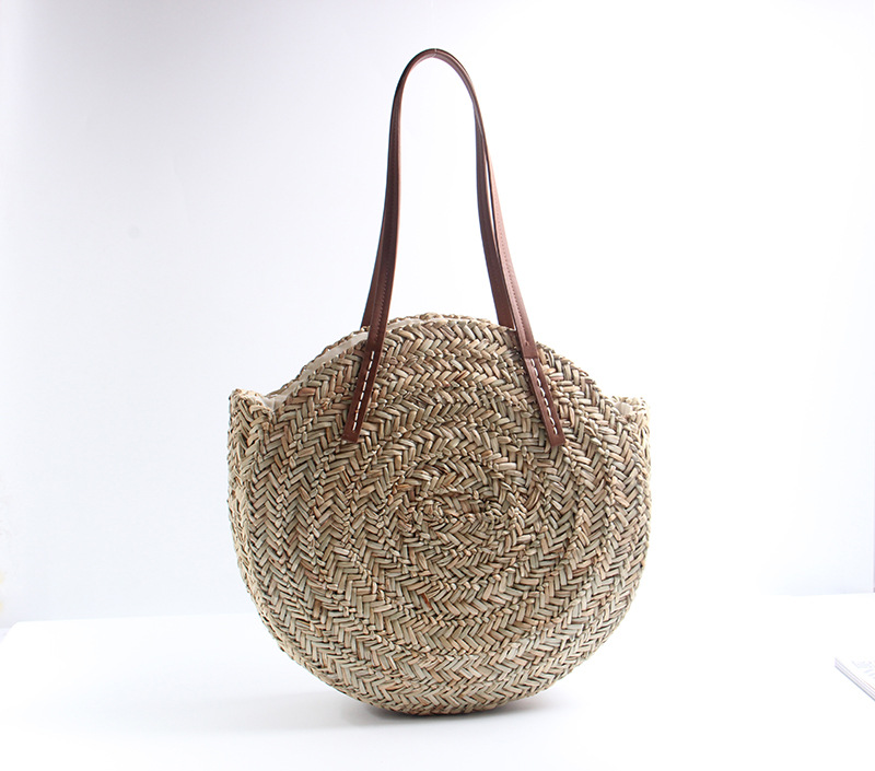 Round Straw Bags Moroccan Palm Basket Bag Women Hand Woven Beach Bag Natural Oval Large Big Tote Circle Handbag Dropshipping