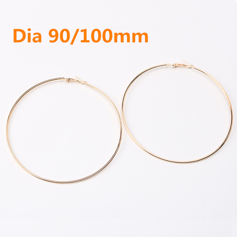 90mm /100mm Big Round Hoop Earrings For Women Classical Gold Color Women Jewelry Earring For Sexy Lady Party Friendship Gift