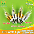 10pcs E14 LED Candle Bulb Golden Aluminum 9w 12w LED Light 220V Led Lamp Cool Warm White Lampada Bombillas Lumiere SMD 2835 COB