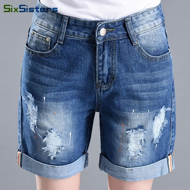 New Summer Loose shorts women Knee Length Washed Cuffs Ripped ...