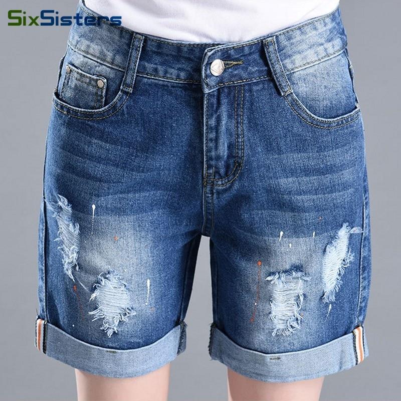 Popular Women Denim Loose Knee Length Shorts-Buy Cheap Women Denim ...